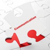 Concetto di pubblicità: comunicazione su sfondo puzzle — Foto Stock