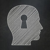 Safety concept: Head With Keyhole on chalkboard background — Stock Photo