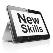 Education concept: New Skills on tablet pc computer — Stock Photo