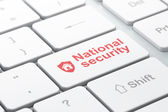 Security concept: Shield and National Security on computer keyboard background — Stock Photo