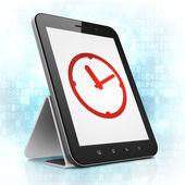 Timeline concept: Clock on tablet pc computer — ストック写真