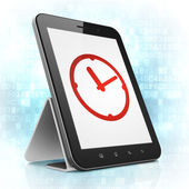 Timeline concept: Clock on tablet pc computer — Stock fotografie