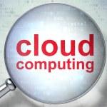 Cloud computing concept: Cloud Computing with optical glass — Stock Photo #39093621