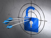 Security concept: arrows in Opened Padlock target on wall background — Photo