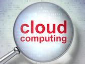 Cloud computing concept: Cloud Computing with optical glass — Stock Photo
