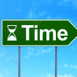 Timeline concept: Time and Hourglass on road sign background — Stock Photo