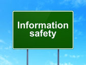 Security concept: Information Safety on road sign background — Zdjęcie stockowe