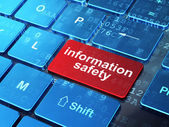 Safety concept: Information Safety on computer keyboard background — Zdjęcie stockowe