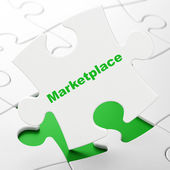 Advertising concept: Marketplace on puzzle background — Stock Photo