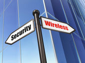 Protection concept: sign Wireless Security on Building background — Stok fotoğraf