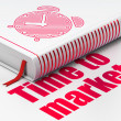 Timeline concept: book Alarm Clock, Time to Market on white background — Stock Photo
