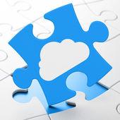 Concepto de tecnología cloud: nube sobre fondo de rompecabezas — Foto de Stock