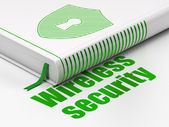 Security concept: book Shield With Keyhole, Wireless Security on white background — Stock Photo