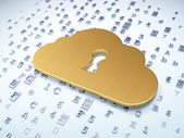 Cloud networking concept: Golden Cloud With Keyhole on digital background — Stock Photo
