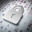 Stock Photo: Data concept: Closed Padlock on Hexadecimal Code background