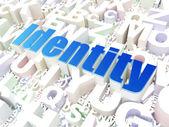 Privacy concept: Identity on alphabet background — Stok fotoğraf