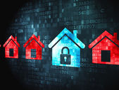Privacy concept: Home on digital background — Stock Photo