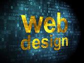 SEO web development concept: Web Design on digital background — Stock Photo