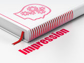 Advertising concept: book Head With Gears, Impression on white background — Stock Photo