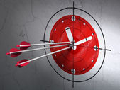 Timeline concept: arrows in Clock target on wall background — Stockfoto