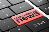News concept: International News on computer keyboard background — Stock Photo