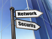 Protection concept: sign Network Security on Building background — Stock Photo