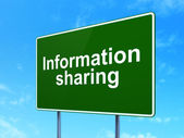 Information concept: Information Sharing on road sign background — Stock Photo