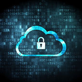 Cloud networking concept: Cloud With Padlock on digital background — Stok fotoğraf