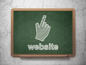 Web development concept: Mouse Cursor and Website on chalkboard background — Stock Photo