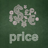 Advertising concept: Finance Symbol and Price on chalkboard background — Stock Photo