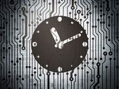 Time concept: circuit board with Clock — Stock Photo