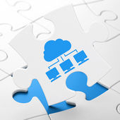 Cloud networking concept: Cloud Network on puzzle background — Stock Photo