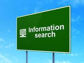 Data concept: Information Search and Computer Pc on road sign background — Stok fotoğraf