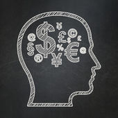 Education concept: Head With Finance Symbol on chalkboard background — Stock Photo