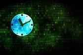 Timeline concept: Clock on digital background — Stock Photo
