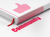 Social network concept: book Thumb Up, Community on white background — Stock Photo