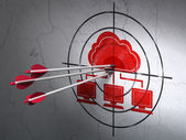 Cloud computing concept: arrows in Cloud Network target on wall background — Stock Photo