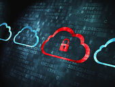 Cloud computing concept: Cloud With Padlock on digital background — Stock Photo