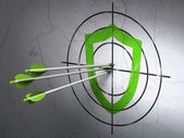 Privacy concept: arrows in Contoured Shield target on wall background — Stock Photo