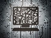 Education concept: circuit board with Computer Pc — Stock fotografie