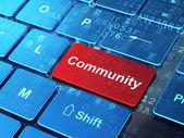 Social media concept: Community on computer keyboard background — Stok fotoğraf