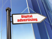 Marketing concept: sign Digital Advertising on Building background — Stock Photo
