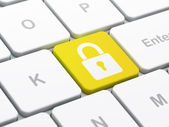 Protection concept: Closed Padlock on computer keyboard background — Stok fotoğraf
