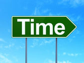Timeline concept: Time on road sign background — Stock Photo