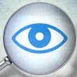 Safety concept: Eye with optical glass on digital background — Stock Photo #39617177