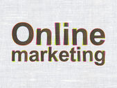 Advertising concept: Online Marketing on fabric texture background — Stock Photo