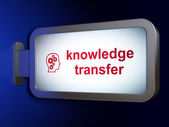 Education concept: Knowledge Transfer and Head With Gears on billboard background — Stockfoto