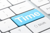 Timeline concept: Time on computer keyboard background — Stockfoto