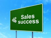Marketing concept: Sales Success and Calculator on road sign background — Stock Photo