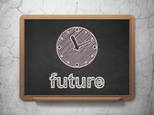 Time concept: Clock and Future on chalkboard background — Stockfoto